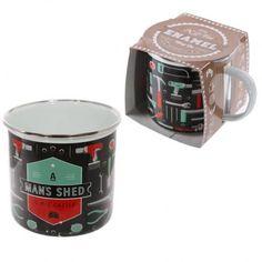 """Smaltovaný hrnek """"Man Shed is His Castle""""  #giftsforhim #mug #hrnek"""