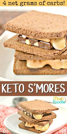 Keto Smores - These low carb S'mores have just 4 net grams of carbs per serving! Keto Smores - These low carb S'mores have just 4 net grams of carbs per serving! Gourmet Recipes, Low Carb Recipes, Diet Recipes, Dessert Recipes, Gourmet Desserts, Dessert Ideas, Soup Recipes, Keto Friendly Desserts, Desert Recipes