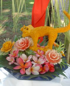 Fruit carving from pumpkin