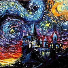 Harry Potter Inspired Art - Fine art print - Starry Night Hogwarts Castle - van Gogh Never Saw Hogwarts - Art by Aja 8x8, 10x10, 12x12, 20x20, 24x24 inch sizes
