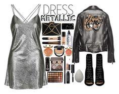 """Heavy Metal: Metallic Dresses"" by itsannalombardo ❤ liked on Polyvore featuring Topshop, Milani, Gucci, Barbara Bui, MAC Cosmetics, Kat Von D, L'Oréal Paris, Laura Mercier, Morphe and Lancôme"