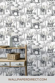 Quirky and authentic elephants and palm trees fill this design with tropical style. Please note this product is Peel & Stick. Seen here in the Charcoal colourway. Self Adhesive Wallpaper, Peel And Stick Wallpaper, Upcycled Furniture, Home Art, Color Schemes, Print Design, Charcoal, Craft Projects, Elephant
