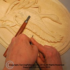 Step by step photo instruction relief wood carving, pyrography, and painting Canada goose project by Lora S., Irish, author of the Basics to Relief Wood Carving. Every cut and carving strokes is shown in this full set of carving instructions. Free craft patterns, free carving project.