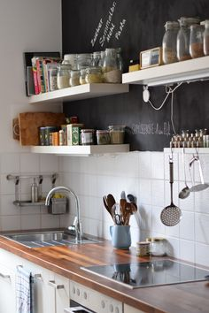 kitchen with chalk paint wall / ikea kitchen reinvented