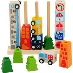 Lacing, stacking, sorting, building - a brilliant toy. Hello Charlie - Im Toy Sort and Count City, $34.95 (http://www.hellocharlie.com.au/im-toy-sort-and-count-city/)