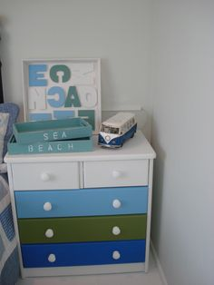 Dresser After - Breathing new life into a old unloved dresser..... perfect for a boys bedroom, the knobs have been painted with a gloss white to give extra defintion