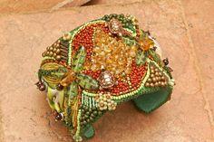 CUFF Rainforest Bead Embroidered Shibori Gemstone Cuff by TealEves, $210.00