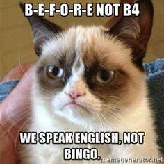 Grumpy Cat  - B-E-F-O-R-E NOT B4 WE SPEAK ENGLISH, NOT BINGO.