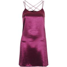 **Swallowtail Slip Dress by Motel ($29) ❤ liked on Polyvore featuring dresses, short dresses, vestido, raspberry, purple dress, loose fit dress, loose fitting mini dress, mini dress and loose fitting dresses