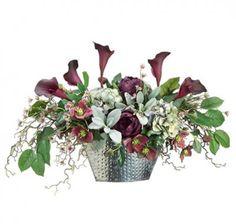 Eggplant Calla Lily Silk Flower Arrangement in Silver Bowl - ARWF1276