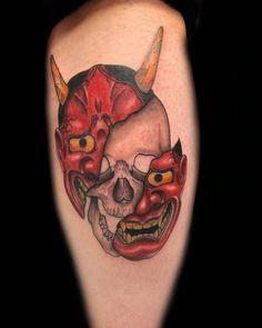 50+ Oni Mask Tattoos: Origins, Meanings & Tattoo Artists Hanya Mask Tattoo, Oni Tattoo, Get A Tattoo, Back Tattoo, Arm Band Tattoo, Japanese Mask Tattoo, Los Mejores Tattoos, Buddhist Beliefs, Japanese Festival