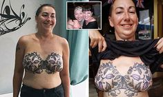 Michelle Cole, 42, of Leeds, got a tattoo of a lacy bra over her reconstructed breasts to mark five years since her double mastectomy, which helped her to beat breast cancer.
