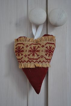Crimson and Burlap Scandinavian Cross Stitch Hanging Lavender Stuffed Fabric Heart, via Etsy.