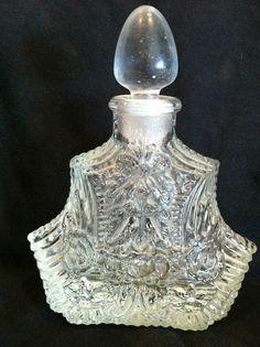 Vintage Irice Czech Crystal Glass Perfume Bottle Christmas Tree Shape Acorn Top | eBay