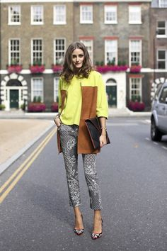 Olivia Palermo in stylish jacquard trousers.