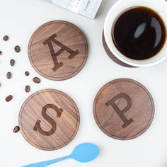 Personalised Wood Coaster Gift   Create Gift Love £12.50  Bring some fun to your table top with these Initial Wood Coasters. The perfect gift for a new home, birthday, family or just because.  http://www.creategiftlove.co.uk/collections/personalised-new-home-gifts/products/personalised-wood-initials-coasters  #newhome #personalised #creategiftlove