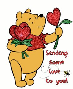 Winnie The Pooh, Glitter, Bee, Hearts - Sending Love image Winnie The Pooh Pictures, Cute Winnie The Pooh, Winne The Pooh, Winnie The Pooh Quotes, Hugs And Kisses Quotes, Hug Quotes, Monday Quotes, Eeyore, Tigger