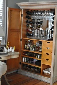 The Cow Spot: Homemade Bar Best wet bar with plenty of space for alcohol, glasses, coasters, and cigars out of an armoire - Diy Interior Design Armoire Bar, Armoire Dressing, Bar Furniture, Furniture Projects, Furniture Makeover, Plywood Furniture, Modern Furniture, Furniture Design, Mini Bars