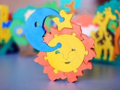 Colorful Wood/Wooden Puzzle Sun and Moon Handmade  by ArtGiftStore, $10.00