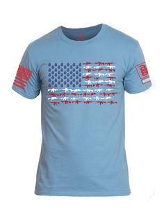 Battleraddle Order Chaos Skull American Flag Mens Cotton Crew Neck T Shirt