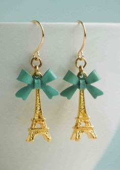 Eiffel Tower Earrings Paris Love Mint Green by redtruckdesigns