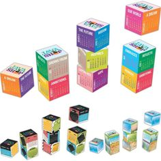 The awesome magnetic calendar cubes.  Display your product pictures, culture statement or anything along with the calendar.  Great stress buster too! #CorporateGift