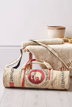 I like this This Yoga mat holder is made from recycled cement bags. Each bag is individually...