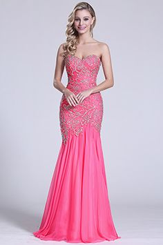 Strapless Sweetheart Hot Pink Beaded Prom Gown (C36151412)