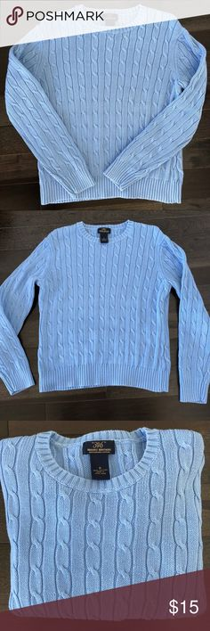 Brooks Brothers 346 Cotton Cable-Knit Sweater Brooks Brothers 346 Sweater in a beautiful Robin Egg Blue. Style is Crewneck. Material is a Cable-knit Mercerized Cotton. Women's Size Medium. Good gently used condition. No real signs of wear. Has some small strings. Has been dry cleaned. 100% Cotton. Made in Hong Kong. Brooks Brothers Sweaters Crew & Scoop Necks