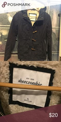 Abercrombie and Fitch kids fur lined navy jacket Size XL in kids but fits XS in women's. Fur lined, super warm. abercrombie kids Jackets & Coats