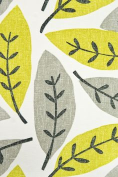 Block Leaf Fabric Large weave, white Cotton fabric with large leaf print design in chartreuse and Grey.