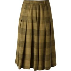 Jean Louis Scherrer Vintage Check Skirt (230 CAD) ❤ liked on Polyvore featuring skirts, vintage, brown, knee length pleated skirt, wool pleated skirt, brown wool skirt, vintage wool skirt and pleated skirt