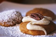 Pumpkin Ricotta Cookies with Cream Cheese Frosting & Pecans