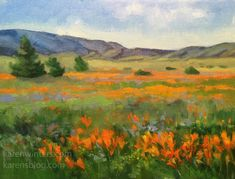 Original oil painting of California poppies in Lancaster, California. Orange yellow wildflowers in bloom with hills. impressionist landscape art for sale Impressionist Landscape, Landscape Art, Landscape Paintings, Oil Paintings, Landscapes, California Wildflowers, California Poppy, Northern California, Art Painting Gallery