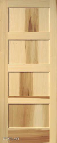 4 Panel Poplar Equal Flat Mission Stain Grade Solid Core Interior Wood Doors  #GlobalONEForestProductsPremiumWoodDoors #StainGradeWoodDoor