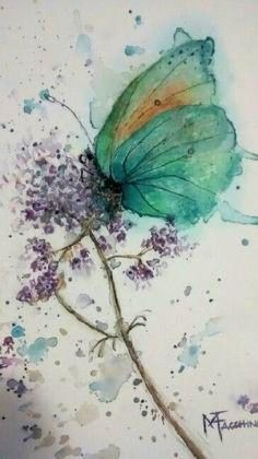 Watercolor by Marisete Fachini Girardello Butterfly Painting, Butterfly Watercolor, Butterfly Art, Watercolor And Ink, Flower Art, Butterflies, Watercolor Projects, Watercolor Artists, Watercolor Paintings