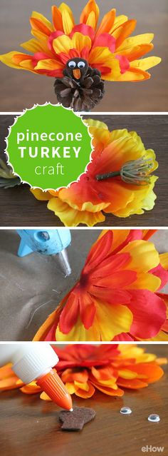This pinecone turkey is the cutest Thanksgiving craft for the kids! So easy to make, you'll be making more just to fill around the house! Directions here: http://www.ehow.com/how_4474806_make-pinecone-turkey-craft.html?utm_source=pinterest.com&utm_medium=referral&utm_content=freestyle&utm_campaign=fanpage Thanksgiving Crafts For Kids, Fall Crafts, Thanksgiving Activities, Diy Turkey Crafts, Thanksgiving Decorations, Thanksgiving Recipes, Christmas Crafts, Thanksgiving Outfit, Pine Cone Crafts