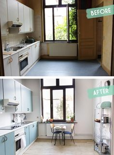 Kitchen makeover before – after / Une cuisine avant – après sur www. Home Staging Cuisine, Inside A House, Bathroom Layout, Living Room Colors, Home Renovation, Interior Design Living Room, Home Projects, Kitchen Decor, Diy Kitchen