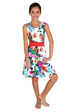 BLUSH by Us Angels Tropical Print Sleeveless Piqué Dress (Big Girls) available at #Nordstrom