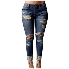 Women's High-waisted Ripped Holes Skinny Jeans Plus Size ($32) ❤ liked on Polyvore featuring jeans, distressed skinny jeans, plus size ripped skinny jeans, high waisted skinny jeans, plus size jeans and ripped jeans