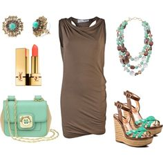 little brown summer dress, created by marnifox on Polyvore featuring the Stella & Dot - Marchesa Studs