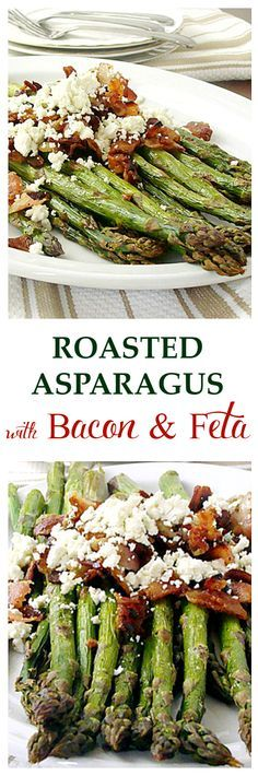 Roasted Asparagus with Bacon and Feta Cheese | Get the recipe on diethood.com