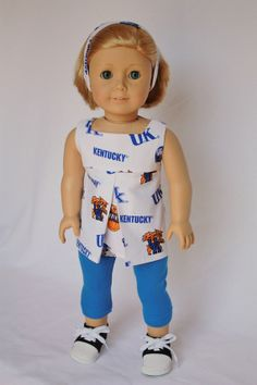 "American Girl 18"" Doll Clothes and Accessories - University of Kentucky tunic, headband and blue leggings on Etsy, $20.00"