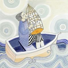 Cate Edwards - boating with bird