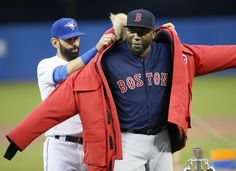 Parting gifts: Toronto Blue Jays gave Big Papi a down coat.
