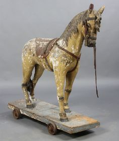 Victorian Carved Horse Pull Toy - Sometimes the rustic, well-loved ones are the best.