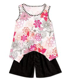 From CWDkids: Floral Handkerchief Hem Tank & Lace Shorts