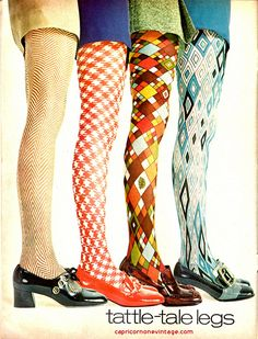 Teen Magazine 1969 -- Tattle-Tale Legs ... a great vintage advertisement for colorful leotards. In bold colors... red, turquoise, orange and brown patterns..