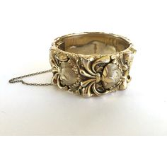 Whiting and Davis SIGNED Gold Floral Repousse Gilded Wide Cuff Bangle... ($52) ❤ liked on Polyvore featuring jewelry and bracelets