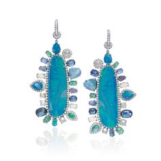 Nina Runsdorf white gold opal earrings, set with opals, sapphires, emerald and diamond accents.
